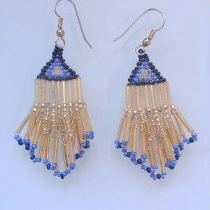 Handmade Drop Earrings Gold & Blue Glass Beads